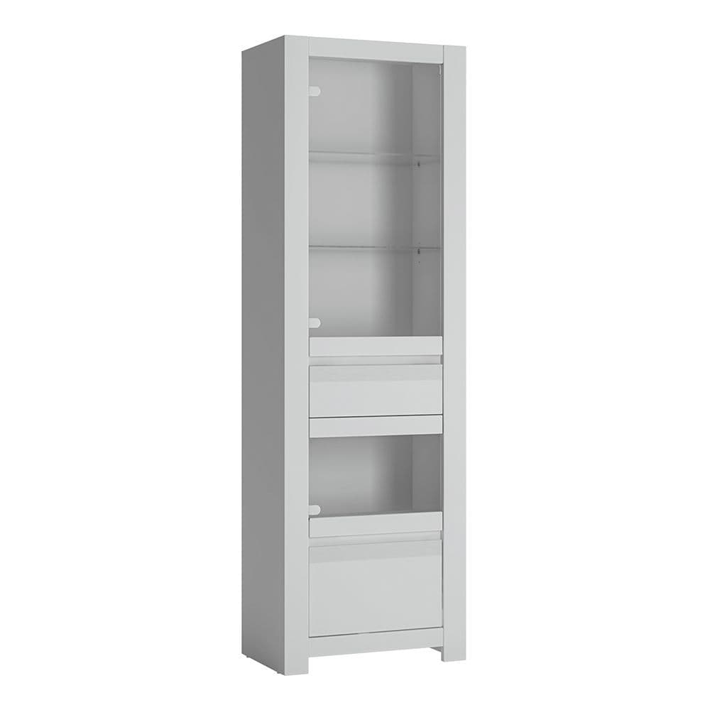 Alita 2 door 1 drawer Display Cabinet in Alpine White